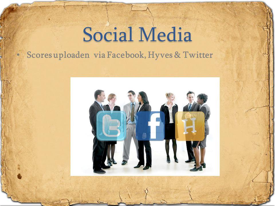 Social Media Scores uploaden via Facebook, Hyves & Twitter