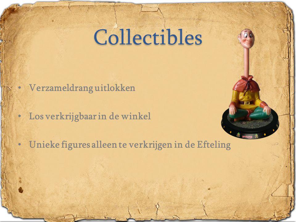 Collectibles Verzameldrang uitlokken Los verkrijgbaar in de winkel Unieke figures alleen te verkrijgen in de Efteling