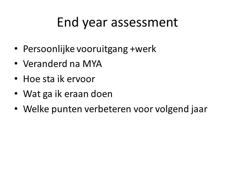 End year assessment Persoonlijke vooruitgang +werk Veranderd na MYA Hoe sta ik ervoor Wat ga ik eraan doen Welke punten verbeteren voor volgend jaar