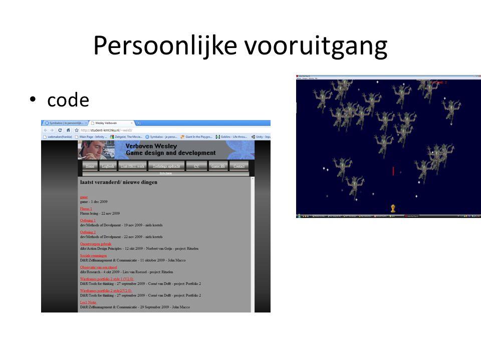 Persoonlijke vooruitgang code