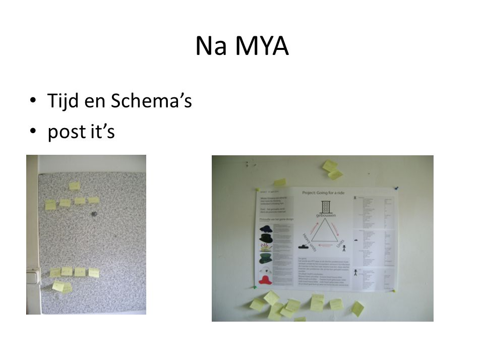 Na MYA Tijd en Schema's post it's