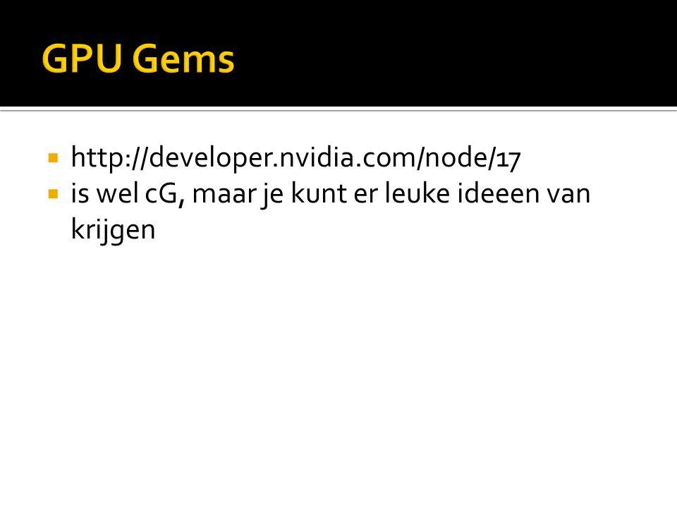  http://developer.nvidia.com/node/17  is wel cG, maar je kunt er leuke ideeen van krijgen