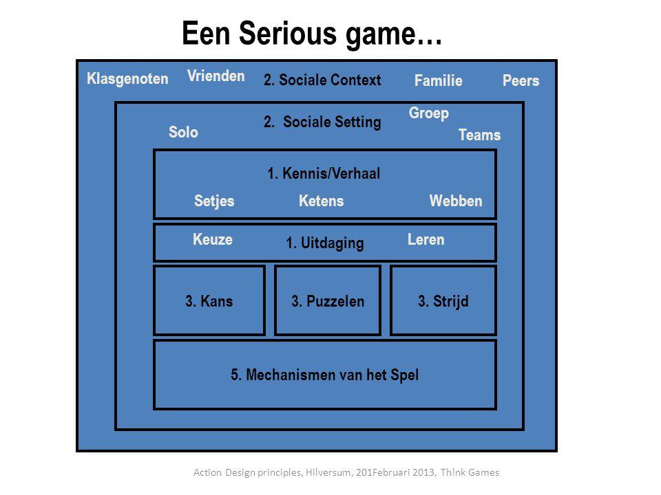 3. Kans3. Strijd3. Puzzelen 5. Mechanismen van het Spel 2. Sociale Setting 1. Uitdaging 2. Sociale Context Een Serious game… SetjesKetensWebben 1. Ken