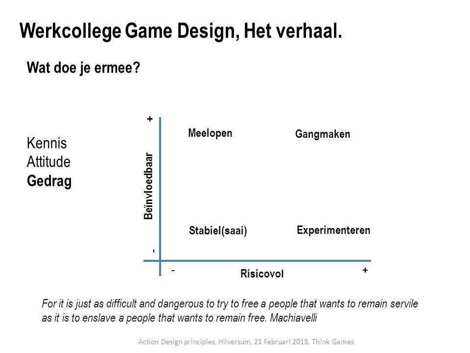 Wat doe je ermee? Kennis Attitude Gedrag Werkcollege Game Design, Het verhaal. Risicovo l Beïnvloedbaar -+ - + Stabiel(saai) Experimenteren Meelopen G