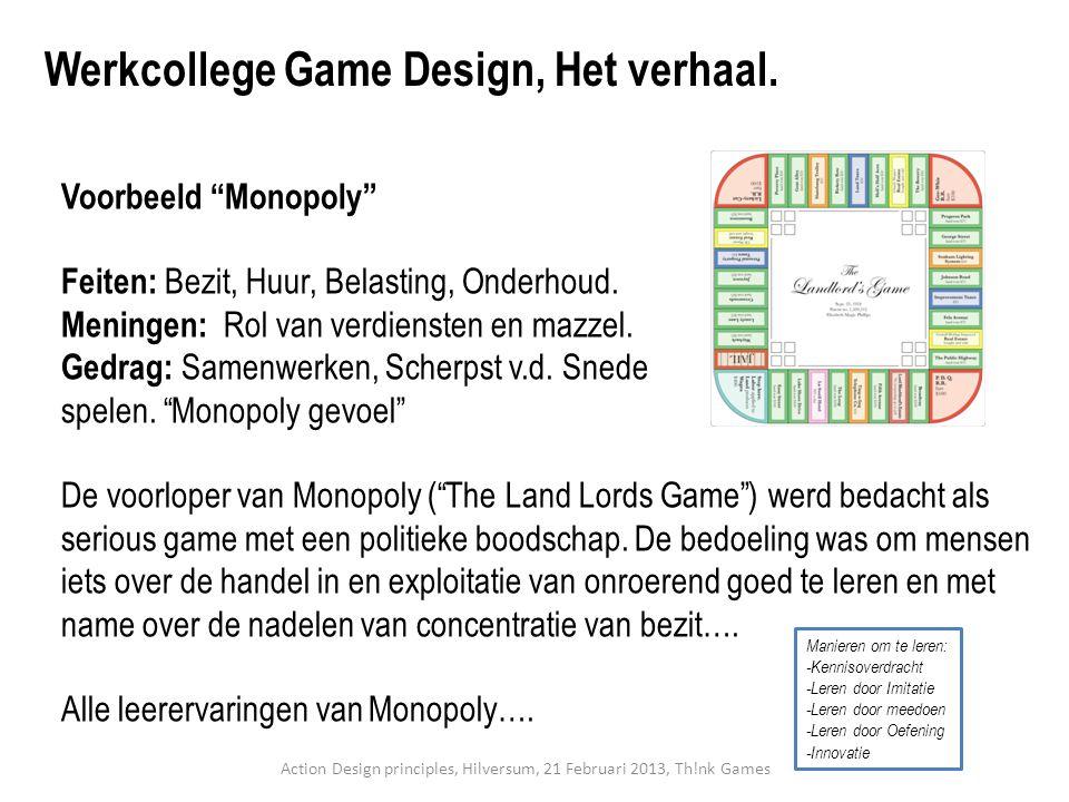 """Voorbeeld """"Monopoly"""" Feiten: Bezit, Huur, Belasting, Onderhoud. Meningen: Rol van verdiensten en mazzel. Gedrag: Samenwerken, Scherpst v.d. Snede spel"""