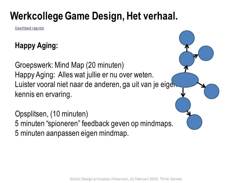 Deathbed regrets Happy Aging: Groepswerk: Mind Map (20 minuten) Happy Aging: Alles wat jullie er nu over weten. Luister vooral niet naar de anderen, g