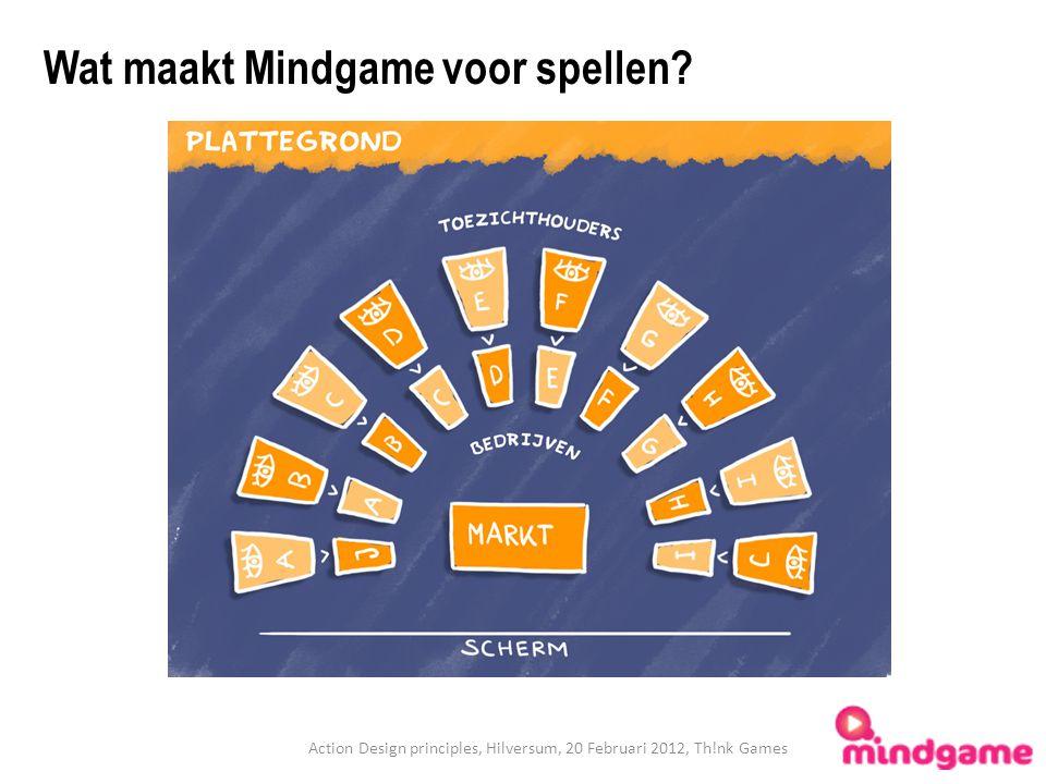 Action Design principles, Hilversum, 20 Februari 2012, Th!nk Games Wat maakt Mindgame voor spellen?