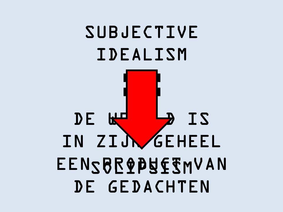 SUBJECTIVE IDEALISM DE WERELD IS IN ZIJN GEHEEL EEN PRODUCT VAN DE GEDACHTEN SOLIPSISM
