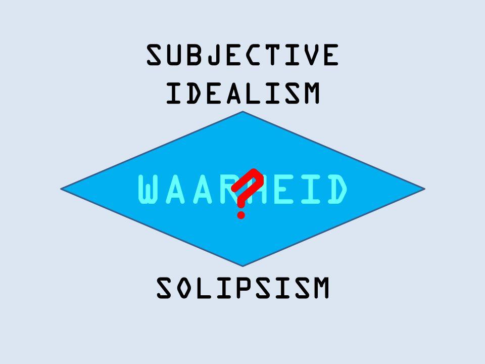 SUBJECTIVE IDEALISM SOLIPSISM WAARHEID
