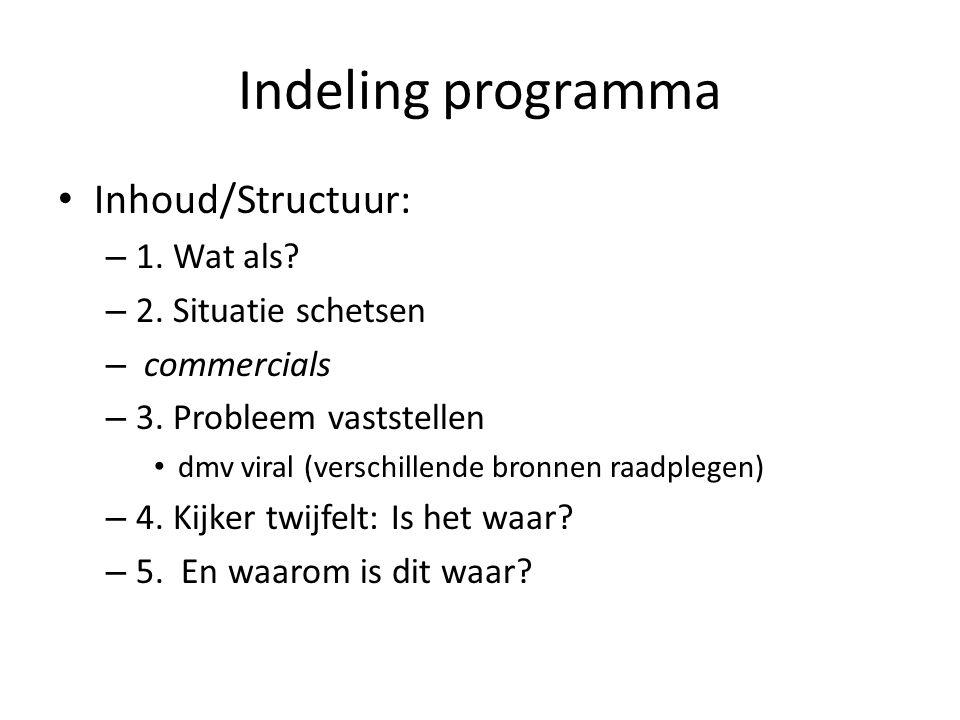 Indeling programma Inhoud/Structuur: – 1. Wat als.