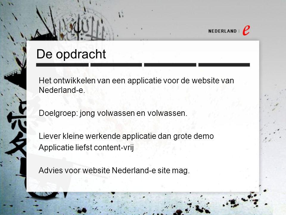 De opdracht Het ontwikkelen van een applicatie voor de website van Nederland-e.