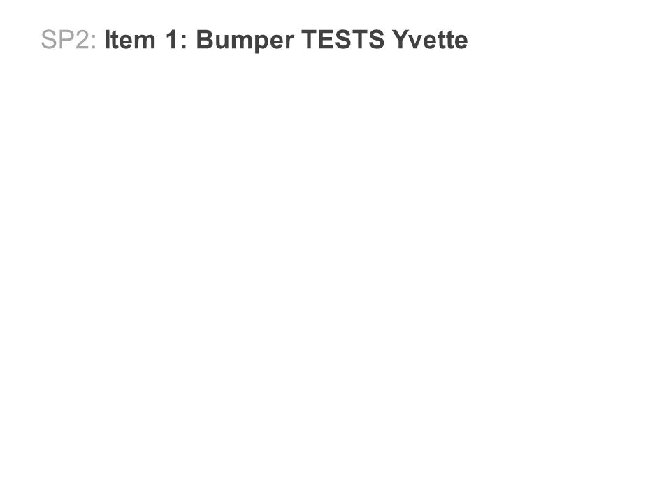 SP2: Item 1: Bumper TESTS Yvette