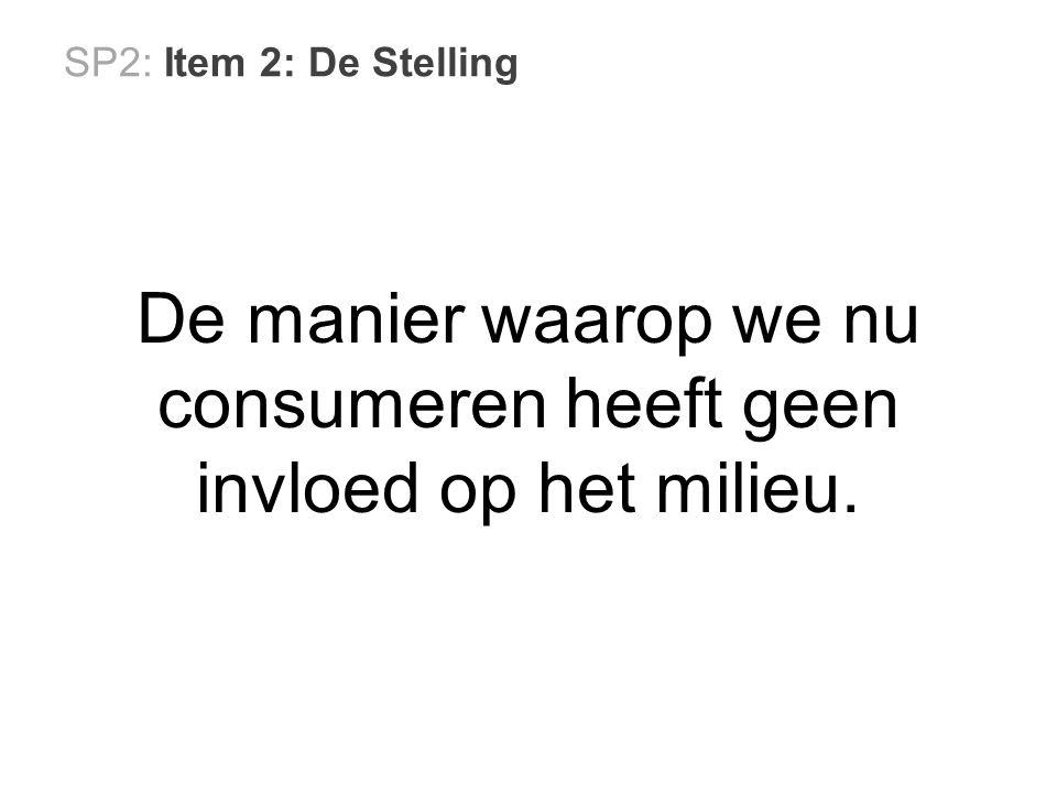 SP2: Item 2: De Stelling De manier waarop we nu consumeren heeft geen invloed op het milieu.