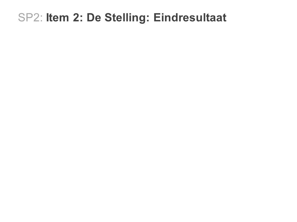 SP2: Item 2: De Stelling: Eindresultaat
