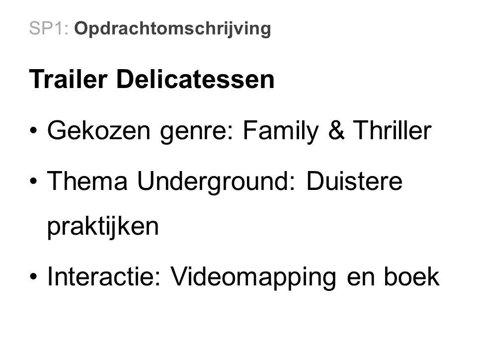 SP1: Opdrachtomschrijving Trailer Delicatessen Gekozen genre: Family & Thriller Thema Underground: Duistere praktijken Interactie: Videomapping en boek