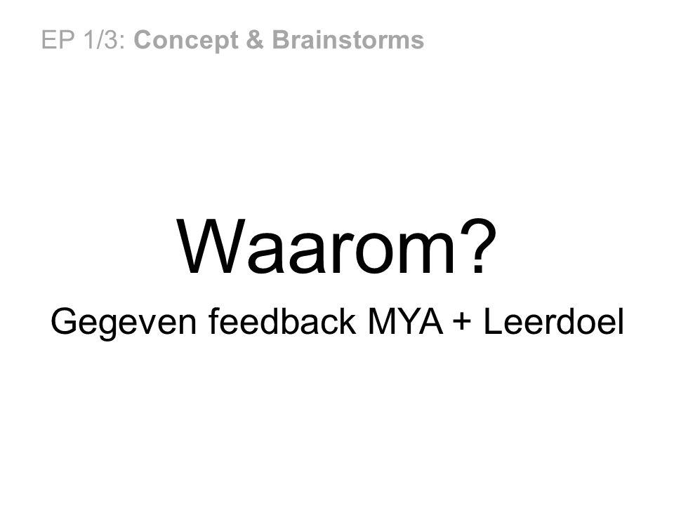 EP 1/3: Concept & Brainstorms Waarom Gegeven feedback MYA + Leerdoel