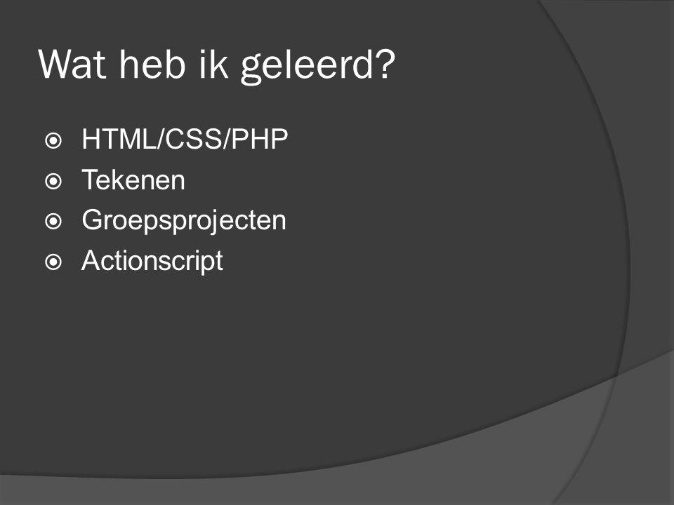 Wat heb ik geleerd  HTML/CSS/PHP  Tekenen  Groepsprojecten  Actionscript