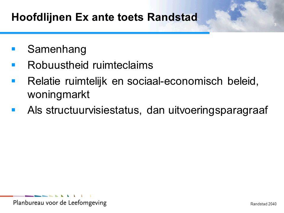 3 Randstad 2040 Hoofdlijnen Ex ante toets Randstad  Samenhang  Robuustheid ruimteclaims  Relatie ruimtelijk en sociaal-economisch beleid, woningmarkt  Als structuurvisiestatus, dan uitvoeringsparagraaf