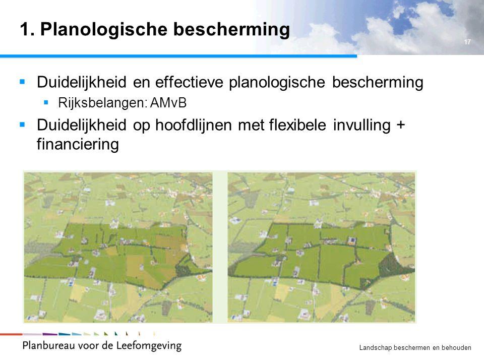 17 Landschap beschermen en behouden 1. Planologische bescherming  Duidelijkheid en effectieve planologische bescherming  Rijksbelangen: AMvB  Duide