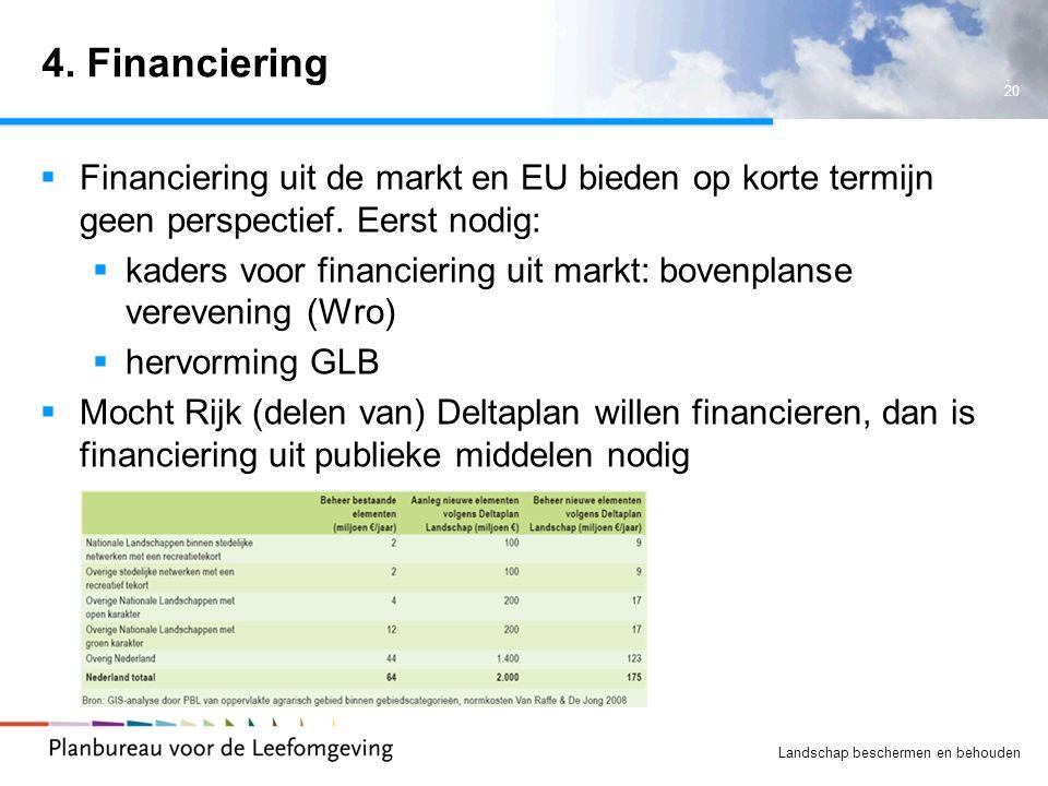 20 Landschap beschermen en behouden 4. Financiering  Financiering uit de markt en EU bieden op korte termijn geen perspectief. Eerst nodig:  kaders