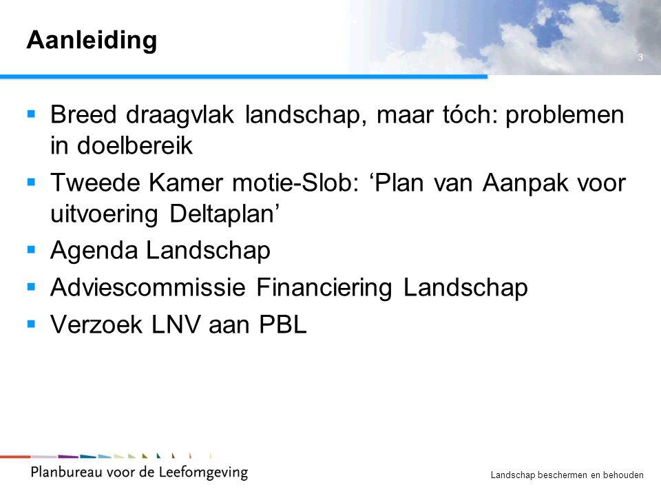 3 Landschap beschermen en behouden Aanleiding  Breed draagvlak landschap, maar tóch: problemen in doelbereik  Tweede Kamer motie-Slob: 'Plan van Aan