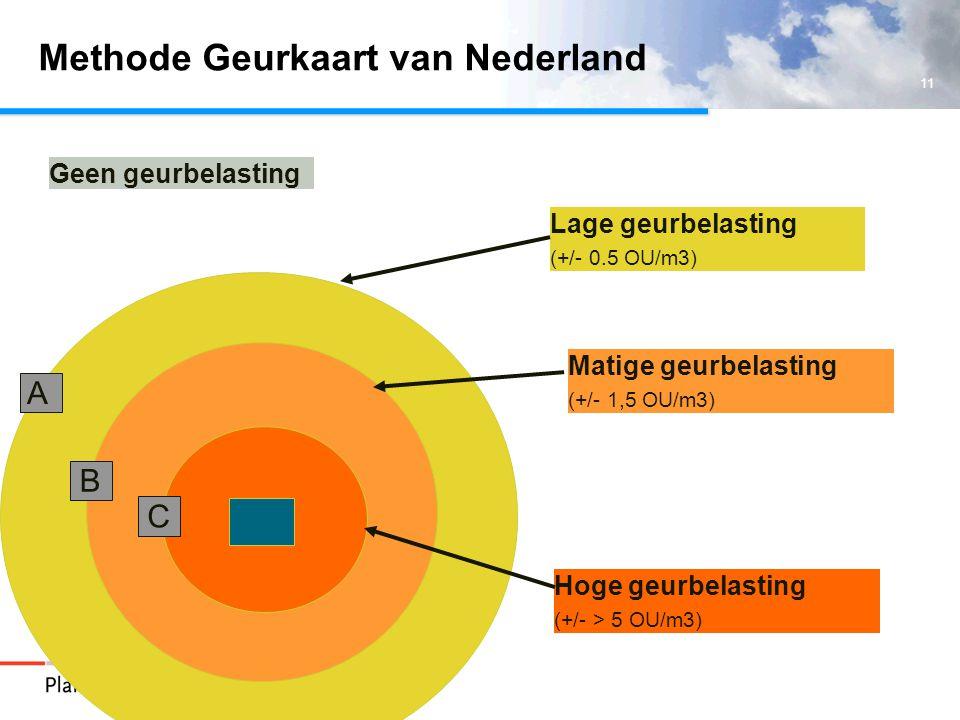 11 Methode Geurkaart van Nederland Hoge geurbelasting (+/- > 5 OU/m3) Lage geurbelasting (+/- 0.5 OU/m3) Matige geurbelasting (+/- 1,5 OU/m3) C A B Geen geurbelasting