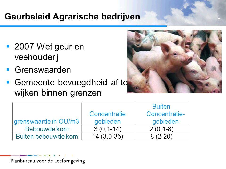 7 Geurbeleid Agrarische bedrijven grenswaarde in OU/m3 Concentratie gebieden Buiten Concentratie- gebieden Bebouwde kom3 (0,1-14)2 (0,1-8) Buiten bebouwde kom14 (3,0-35)8 (2-20)  2007 Wet geur en veehouderij  Grenswaarden  Gemeente bevoegdheid af te wijken binnen grenzen