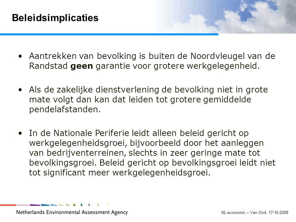 NL-economic – Van Oort, 17-10-2008 Beleidsimplicaties Aantrekken van bevolking is buiten de Noordvleugel van de Randstad geen garantie voor grotere werkgelegenheid.
