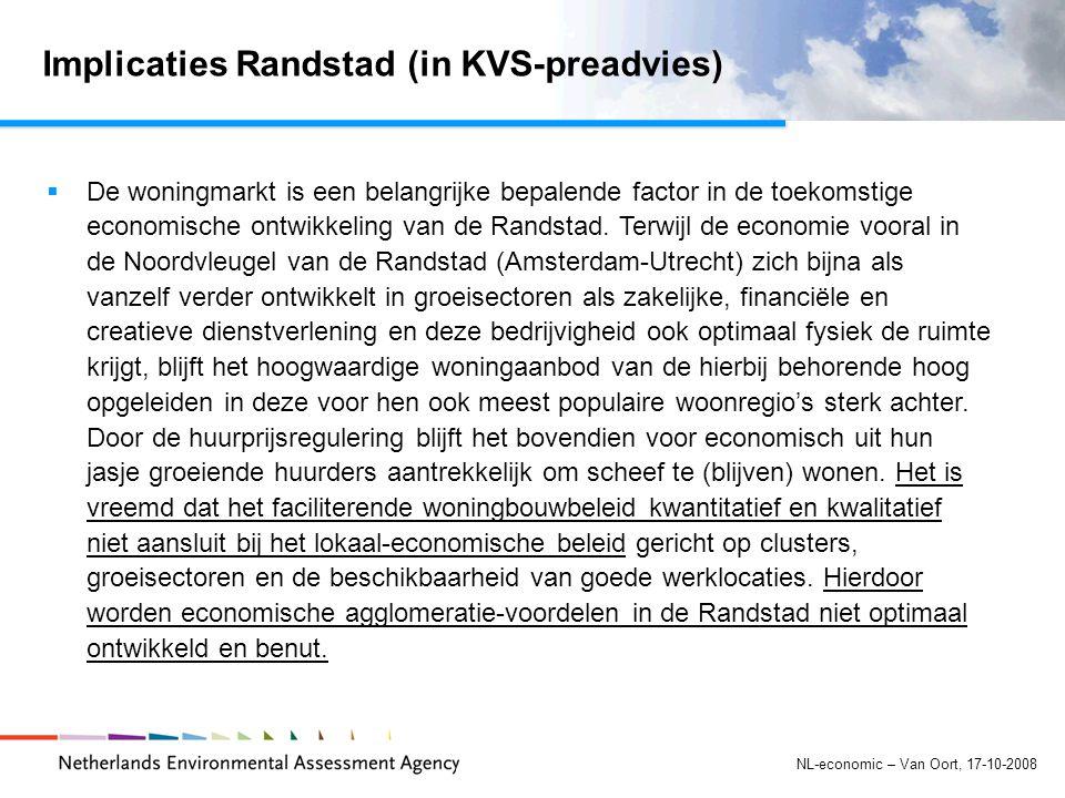 NL-economic – Van Oort, 17-10-2008 Implicaties Randstad (in KVS-preadvies)  De woningmarkt is een belangrijke bepalende factor in de toekomstige economische ontwikkeling van de Randstad.