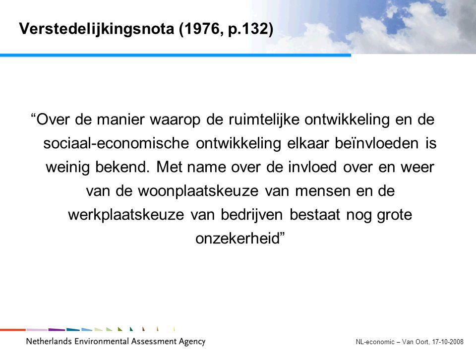 NL-economic – Van Oort, 17-10-2008 Verstedelijkingsnota (1976, p.132) Over de manier waarop de ruimtelijke ontwikkeling en de sociaal-economische ontwikkeling elkaar beïnvloeden is weinig bekend.