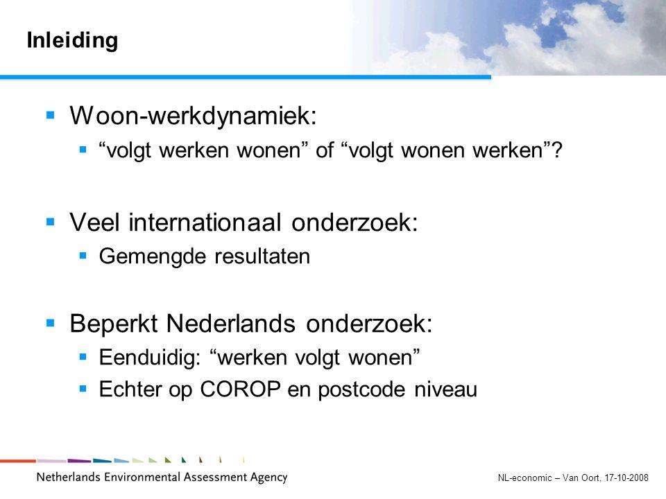NL-economic – Van Oort, 17-10-2008 Inleiding  Woon-werkdynamiek:  volgt werken wonen of volgt wonen werken .