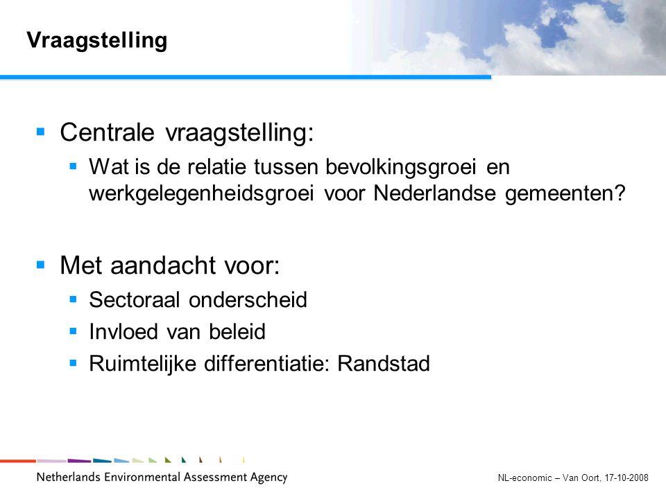 NL-economic – Van Oort, 17-10-2008 Vraagstelling  Centrale vraagstelling:  Wat is de relatie tussen bevolkingsgroei en werkgelegenheidsgroei voor Nederlandse gemeenten.