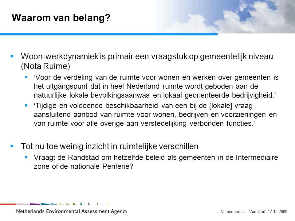 NL-economic – Van Oort, 17-10-2008 Waarom van belang.