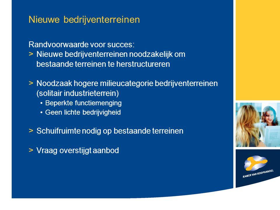 Nieuwe bedrijventerreinen Randvoorwaarde voor succes: > Nieuwe bedrijventerreinen noodzakelijk om bestaande terreinen te herstructureren > Noodzaak ho