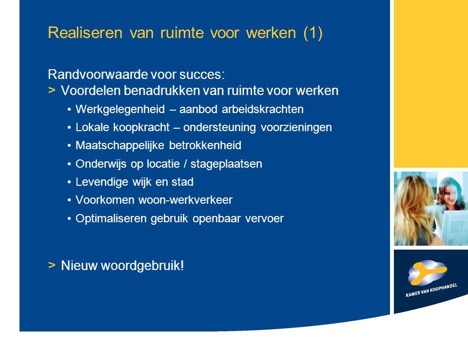 Realiseren van ruimte voor werken (1) Randvoorwaarde voor succes: > Voordelen benadrukken van ruimte voor werken Werkgelegenheid – aanbod arbeidskrach