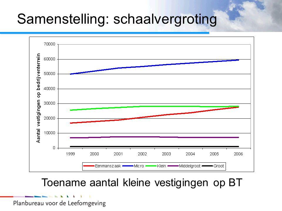 Samenstelling: schaalvergroting Toename aantal kleine vestigingen op BT