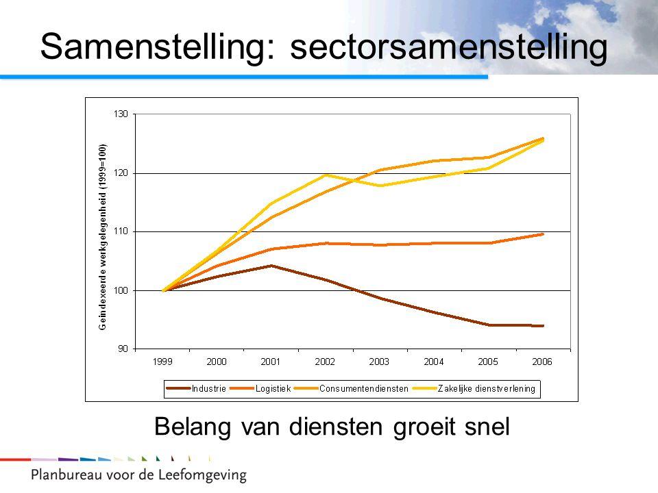 Samenstelling: sectorsamenstelling Belang van diensten groeit snel