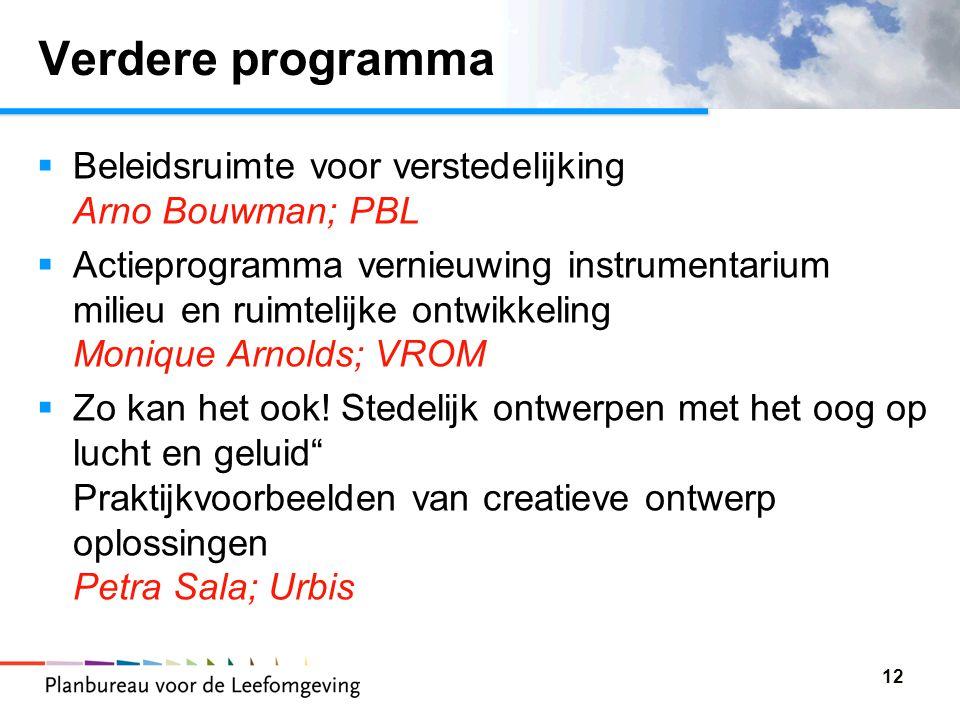 12 Verdere programma  Beleidsruimte voor verstedelijking Arno Bouwman; PBL  Actieprogramma vernieuwing instrumentarium milieu en ruimtelijke ontwikkeling Monique Arnolds; VROM  Zo kan het ook.