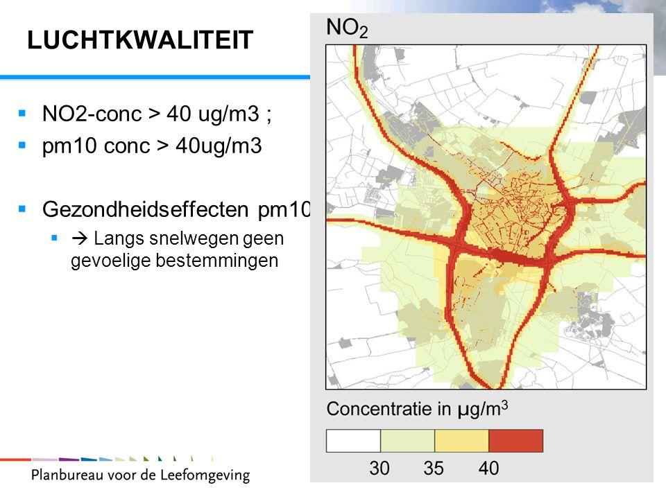 5 LUCHTKWALITEIT  NO2-conc > 40 ug/m3 ;  pm10 conc > 40ug/m3  Gezondheidseffecten pm10  Langs snelwegen geen gevoelige bestemmingen