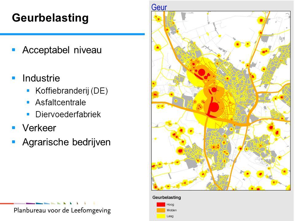 8 Geurbelasting  Acceptabel niveau  Industrie  Koffiebranderij (DE)  Asfaltcentrale  Diervoederfabriek  Verkeer  Agrarische bedrijven