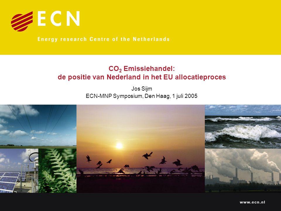 Lessen/opties voor de toekomst  2008-2012: –Beperkte opties voor andere allocatie-aanpak –Harmonisatie van ETS dekking en reserve nieuwkomers –Nederland: stringentere cap (met name E-sector)  2012 en verder: –Meer vrijheidsgraden – Oude óf nieuwe aanpak: verdeling van EU emissieruimte per lidstaat óf op centraal niveau  In het najaar: aanvang studie door MNP, ECN en Ecofys in het kader van NRP-CC-WAB programma over opties voor EU Burden Sharing en EU ETS allocatie