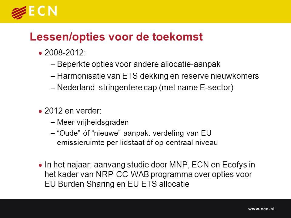 Lessen/opties voor de toekomst  2008-2012: –Beperkte opties voor andere allocatie-aanpak –Harmonisatie van ETS dekking en reserve nieuwkomers –Nederl