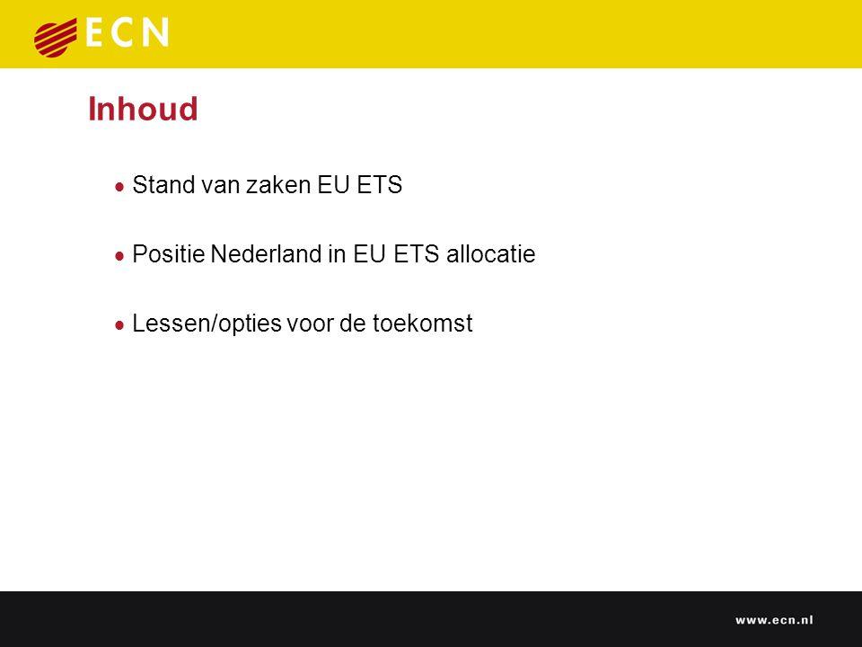 Stand van zaken EU ETS 20 juni 2005: EU goedkeuring laatste (25e) Nationale Allocatieplan EC heeft bij 12 NAPs de cap verlaagd (met 97 mln.