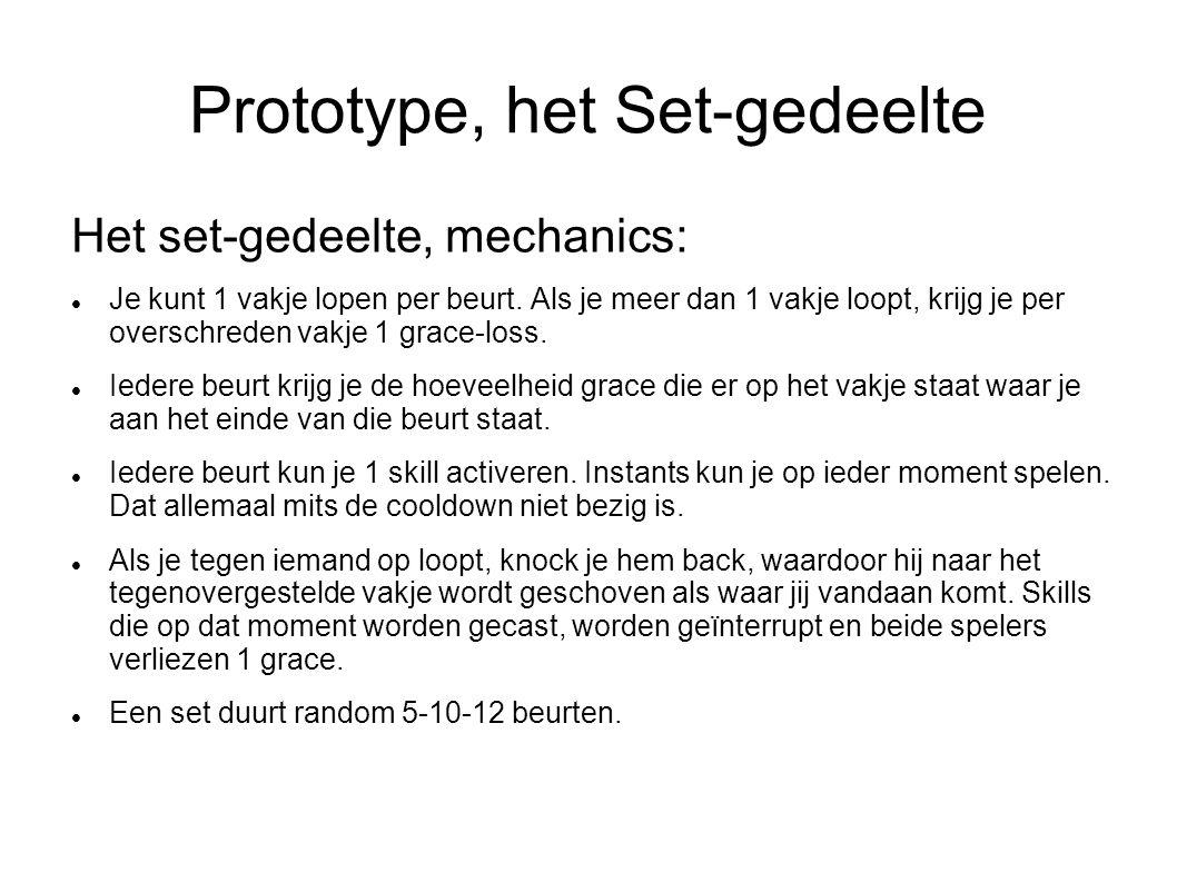 Prototype, het Set-gedeelte Het set-gedeelte, mechanics: Je kunt 1 vakje lopen per beurt. Als je meer dan 1 vakje loopt, krijg je per overschreden vak