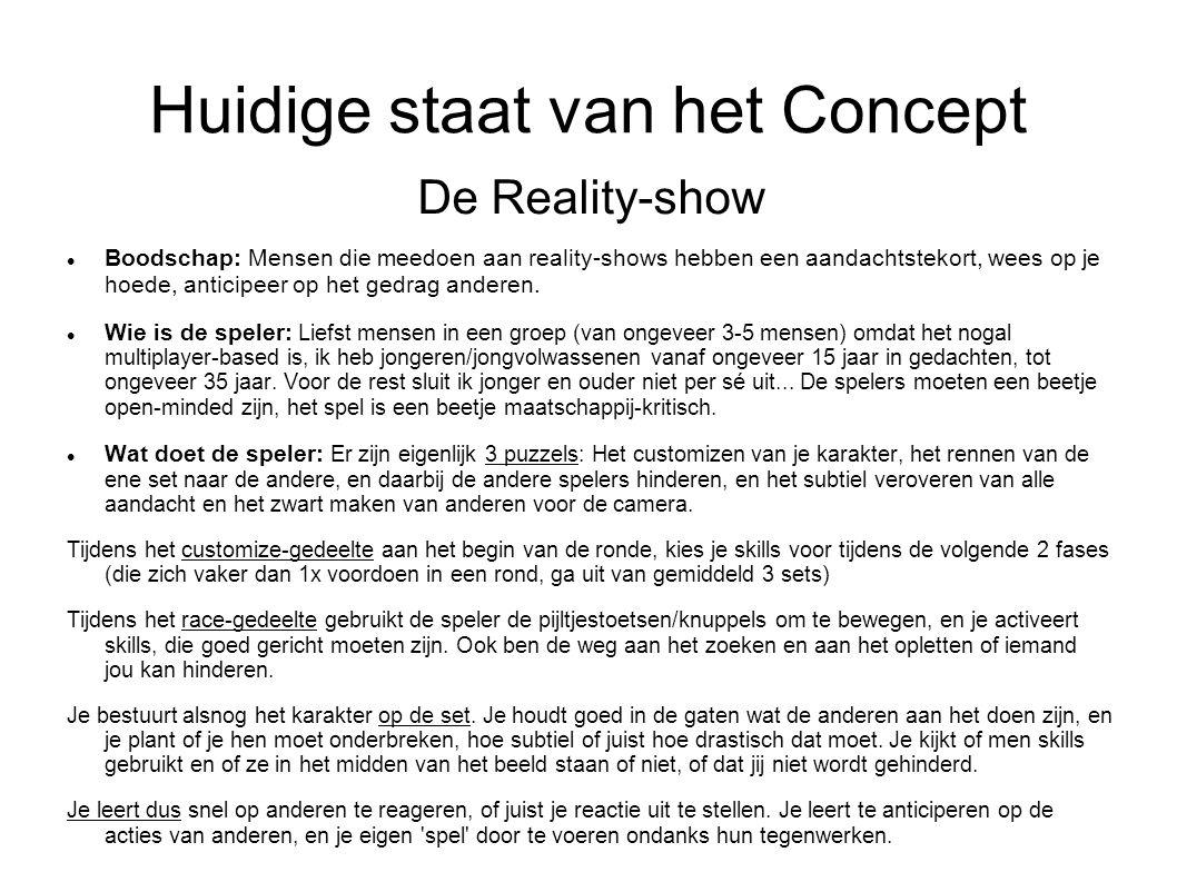 Huidige staat van het Concept De Reality-show Boodschap: Mensen die meedoen aan reality-shows hebben een aandachtstekort, wees op je hoede, anticipeer op het gedrag anderen.