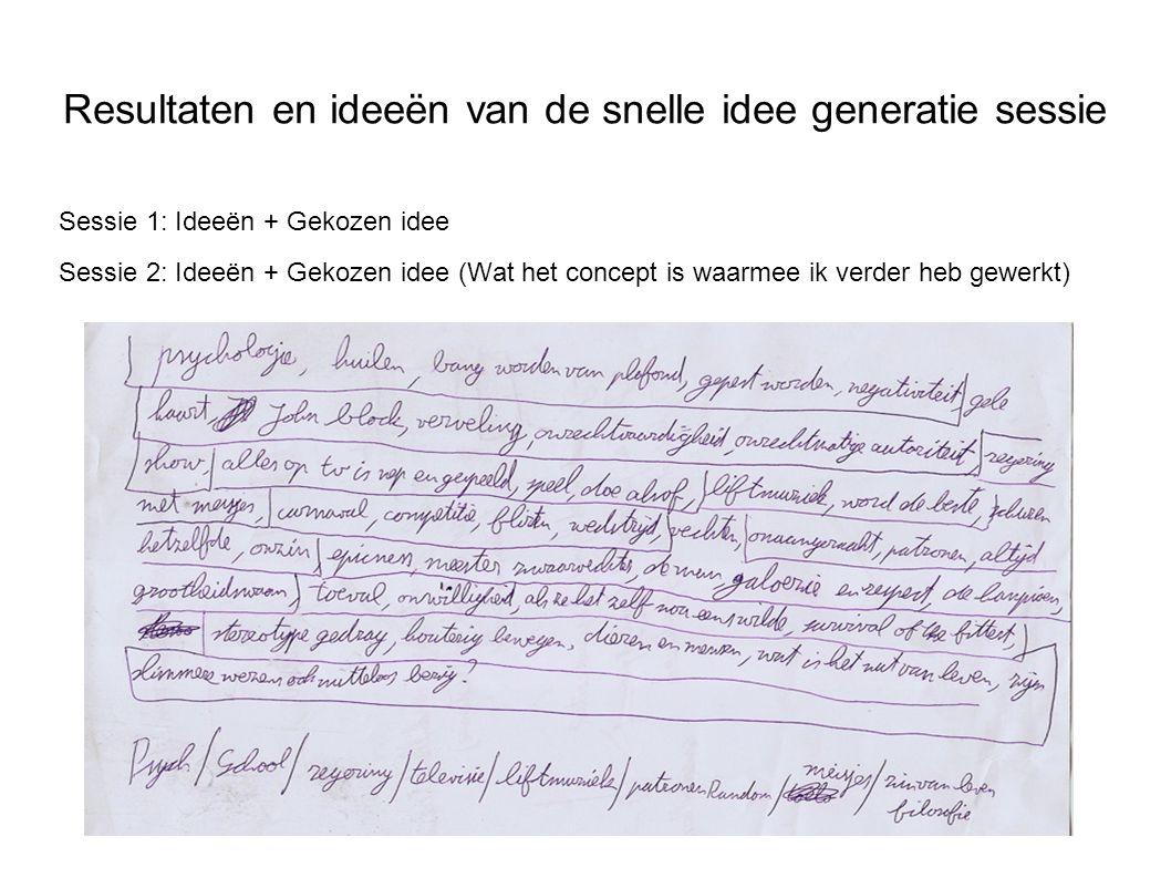 Resultaten en ideeën van de snelle idee generatie sessie Sessie 1: Ideeën + Gekozen idee Sessie 2: Ideeën + Gekozen idee (Wat het concept is waarmee i