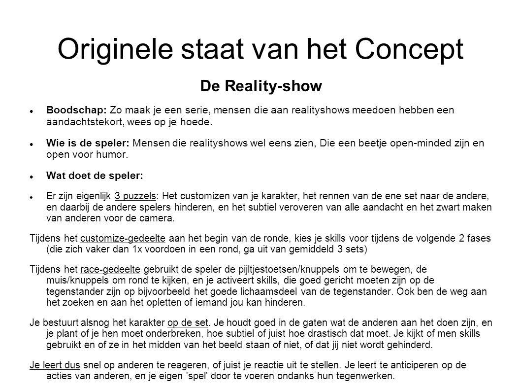 Originele staat van het Concept De Reality-show Boodschap: Zo maak je een serie, mensen die aan realityshows meedoen hebben een aandachtstekort, wees op je hoede.