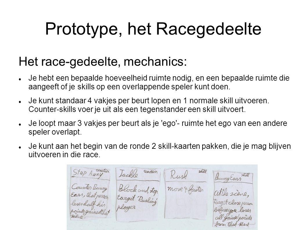 Prototype, het Racegedeelte Het race-gedeelte, mechanics: Je hebt een bepaalde hoeveelheid ruimte nodig, en een bepaalde ruimte die aangeeft of je skills op een overlappende speler kunt doen.