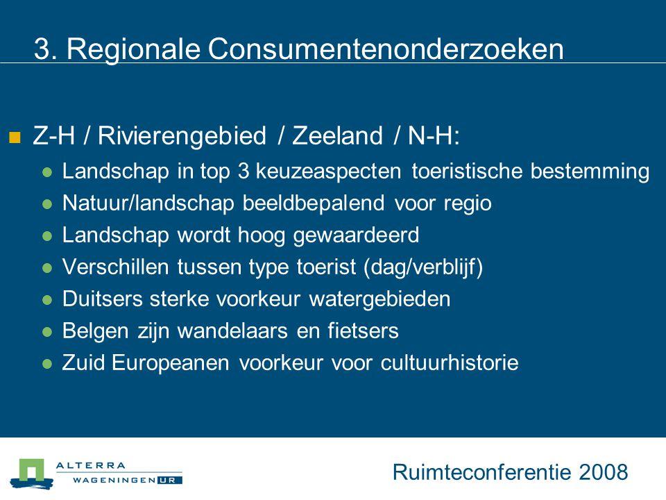 3. Regionale Consumentenonderzoeken Z-H / Rivierengebied / Zeeland / N-H: Landschap in top 3 keuzeaspecten toeristische bestemming Natuur/landschap be