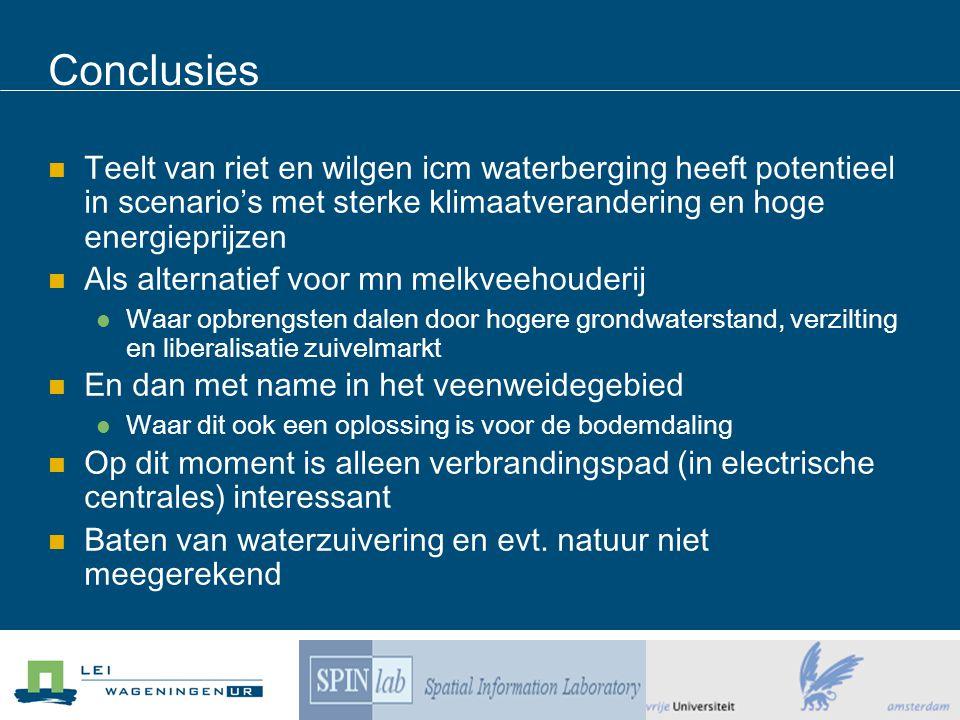 Conclusies Teelt van riet en wilgen icm waterberging heeft potentieel in scenario's met sterke klimaatverandering en hoge energieprijzen Als alternati
